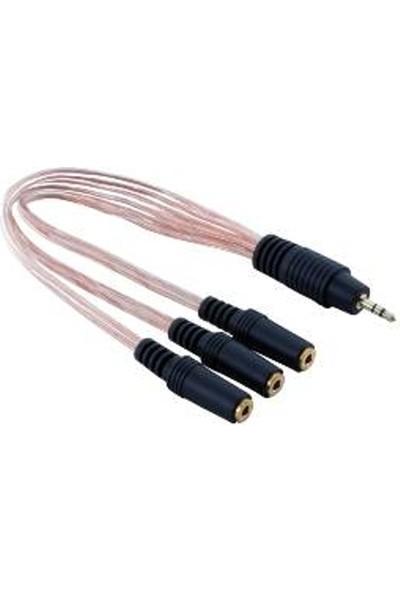 Platoon Ses Sistemi 5+1 Kablo 3,5Mm Streo Dan 3 Lü Dişi Streo Çoklayıcı
