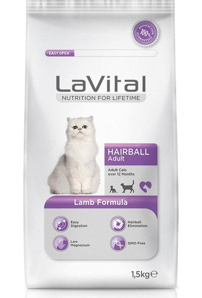 La Vital Cat Adult Hairball Kuzu Etli Yetişkin Kedi Mamasi 1.5 Kg