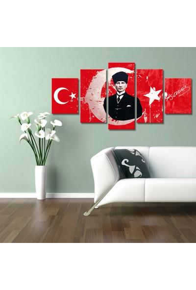 Özverler Atatürk Ay Yıldız 5 Parça Kanvas Tablo