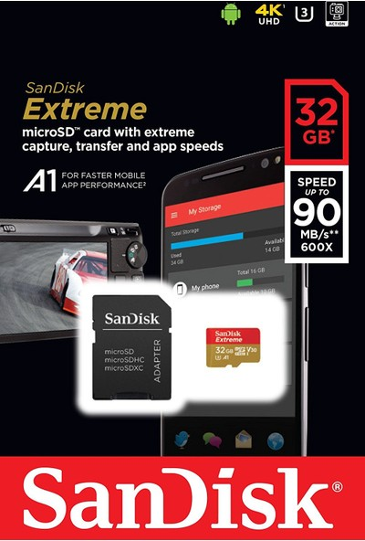 Sandisk Extreme microSDHC 32GB + SD Adapter + Rescue Pro Deluxe 100MB/s A1 C10 SDSQXAF-032G-GN6MA