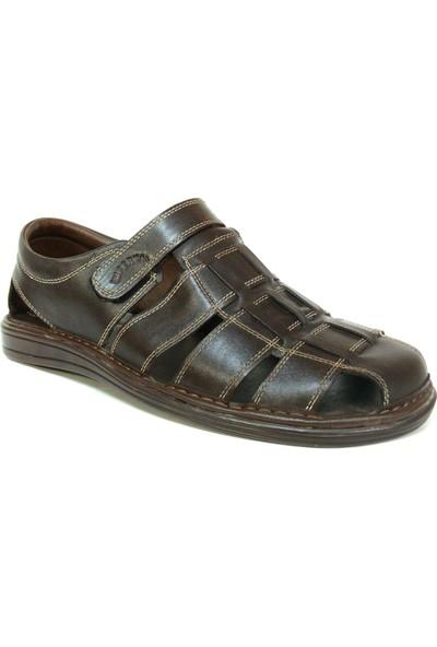 Sultan 208 Kahverengi %100 Deri Anatomik Erkek Sandalet