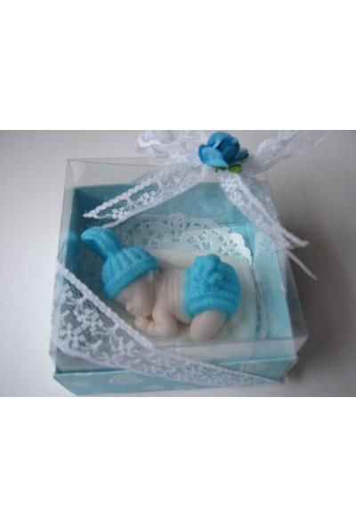 Turunç Tasarım ponpon Bebek Kokulu Sabun (Mavi) 30 Adet