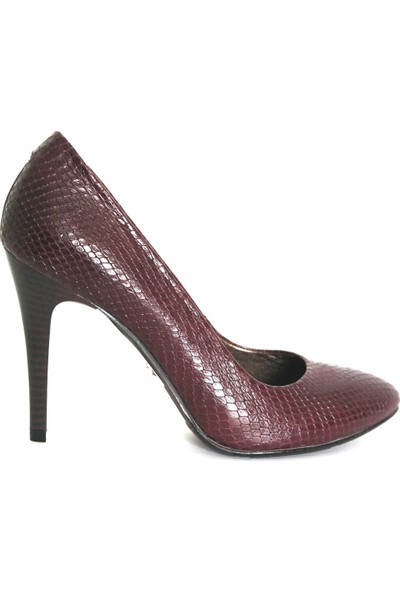 Akl Shoes Bordo Baskılı Deri Stiletto
