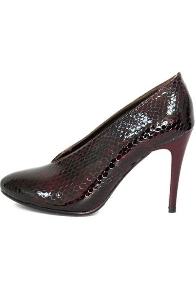 Akl Shoes Topuklu Bordo Petek Deri Ayakkabı