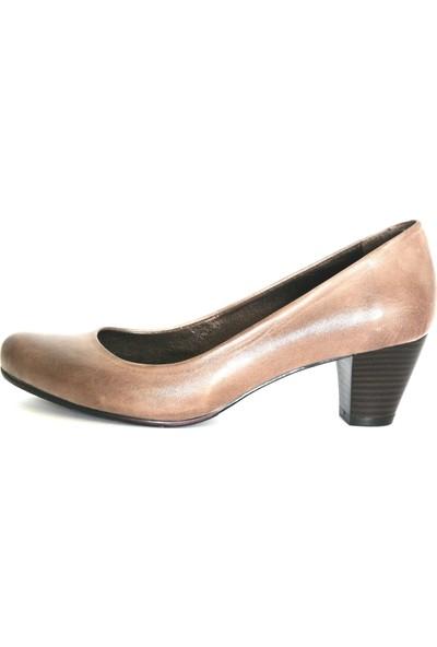 Akl Shoes Vizon Deri Alçak Stiletto