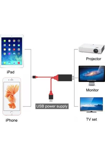 Kinq Apple iPhone Ve iPad Lightning Girişli Hdmı Tv Kablo-Kırmızı
