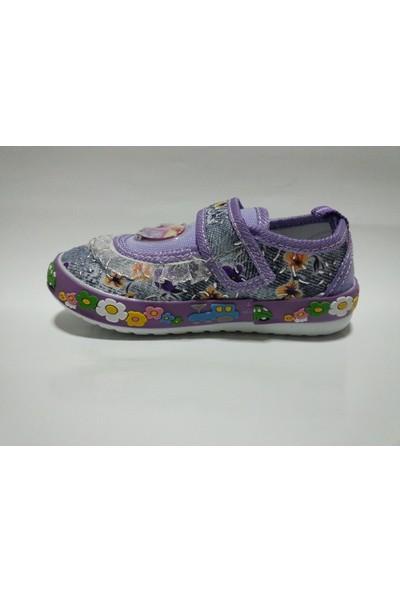 Garcia Kids 606 Mor Çiçek Desenli Keten Bebe Ayakkabısı