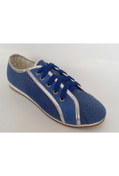 Jasmine Saks Mavi Gümüş Bayan Babet Ayakkabı