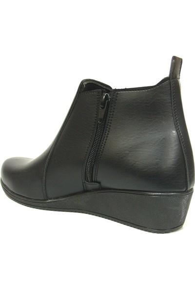 Shoepi Siyah Fermuarlı Dolgu Topuk Bayan Bot