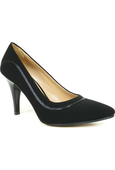 Zenay 1301 Siyah Nubuk Deri Stiletto Bayan Ayakkabı