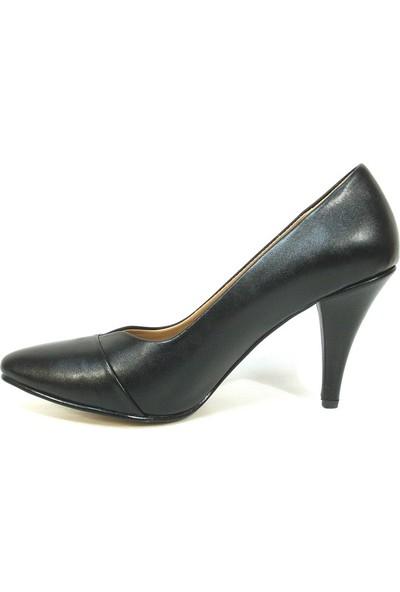 Zenay 1302 Siyah Deri Stiletto Bayan Ayakkabı