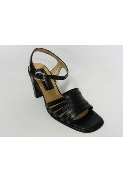 Demirci Siyah Topuklu Sandalet Bayan Ayakkabı