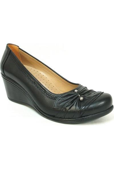 Lucianna Bella 096 Siyah Anatomik Dolgu Topuk Ayakkabı