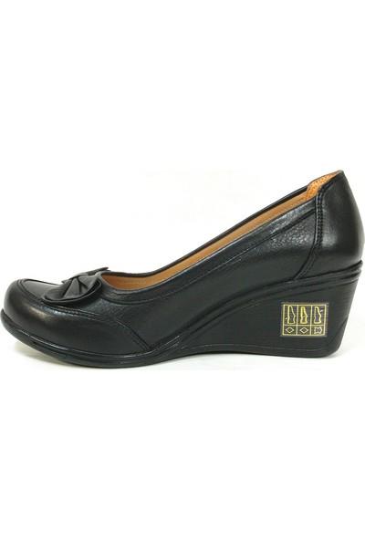 Lucianna Bella 051 Siyah Anatomik Dolgu Topuk Ayakkabı