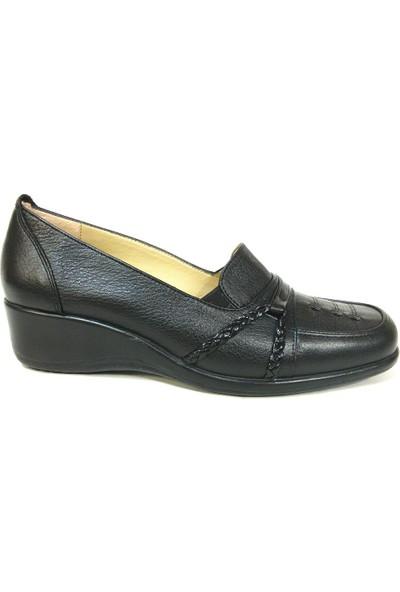 Lucianna Bella 128 Siyah Dolgu Topuk Anne Ayakkabısı