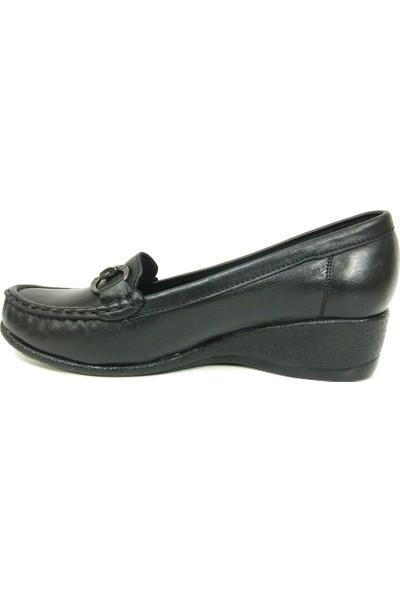 Filik 128 Siyah %100 Deri Comfort Bayan Ayakkabı