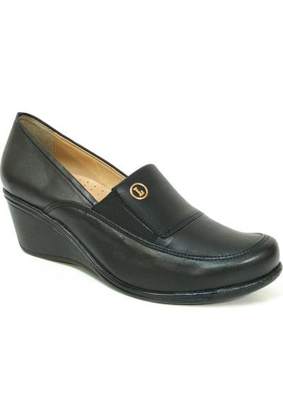 Lucianna Bella 162 Siyah Anatomik Dolgu Topuk Ayakkabı