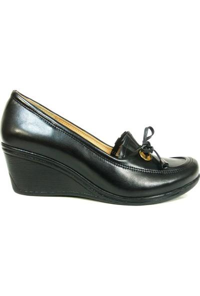 Lucianna Bella 145 Siyah Anatomik Dolgu Topuk Ayakkabı