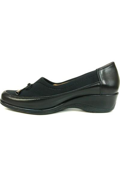Lucianna Bella 156 Siyah Anatomik Dolgu Topuk Ayakkabı