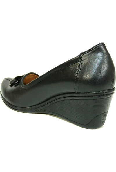 Lucianna Bella 167 Siyah Anatomik Dolgu Topuk Ayakkabı