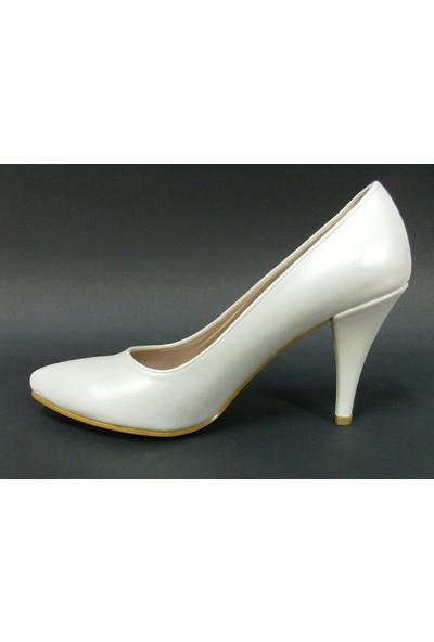 Zenay 1401 Kırık Beyaz Deri Stiletto Bayan Ayakkabı