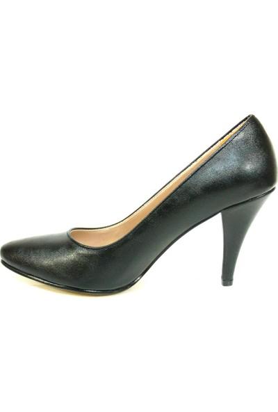 Zenay 1401 Siyah Deri Stiletto Bayan Ayakkabı