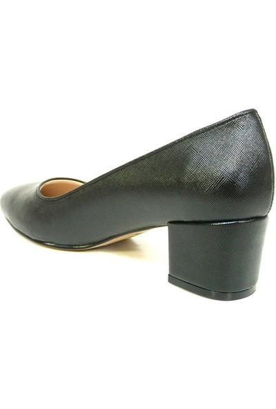 Zenay 1403 2 Siyah Deri Topuklu Bayan Ayakkabı
