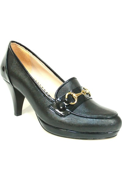 Zenay 1418 Siyah Deri Topuklu Bayan Ayakkabı