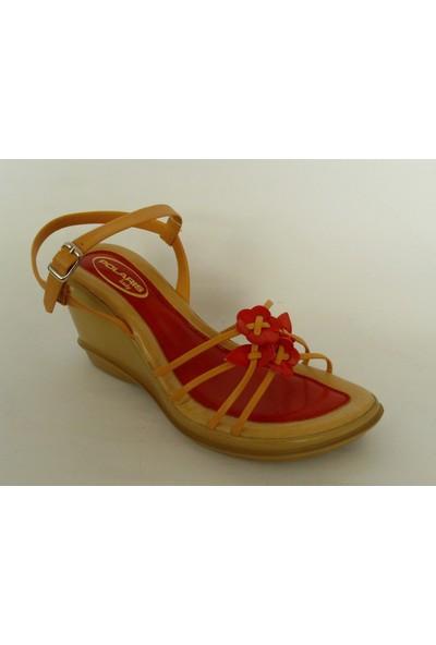 Polaris 881 Kırmızı Bej Çiçekli Bayan Sandalet