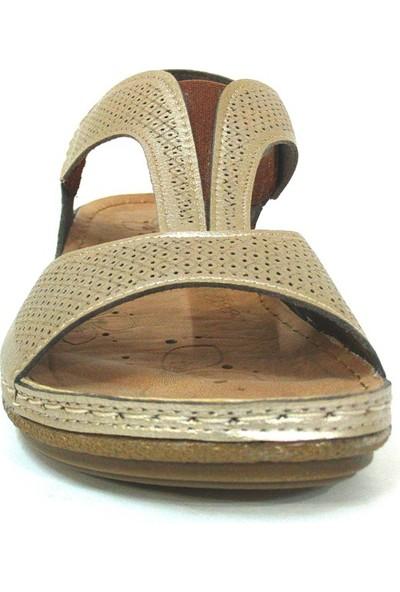 Carlaverde 140730 Altın Anatomik Comfort Bayan Sandalet