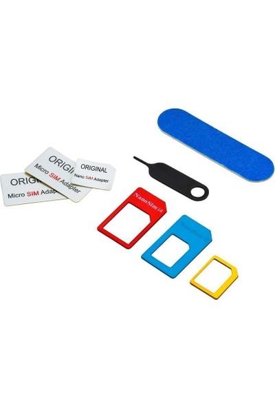 Dualpazar 5 in 1 Nano Ve Micro Sim Kart Adaptörü Seti iPhone Uyumlu