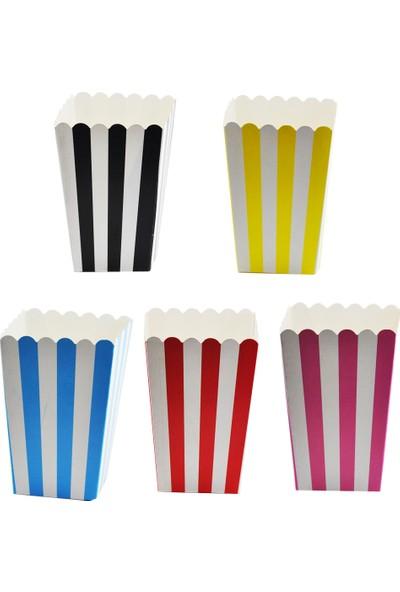 Tahtakale Toptancısı Popcorn Kutusu Karton Çizgili (Mısır Cips Kutusu) (10 Adet)