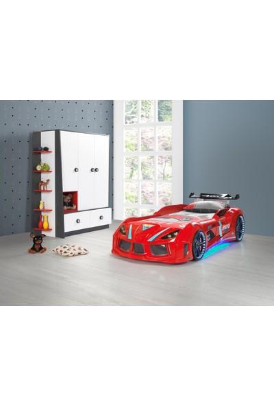Musvenus Mobilya Mvn 4 Full Ledli Arabalı Yatak - Kırmızı - Çocuk Karyolası