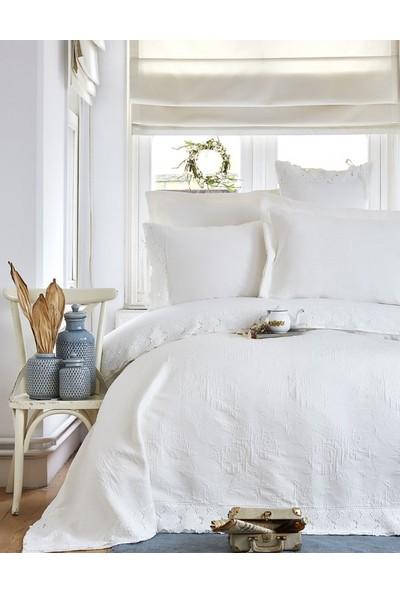 Karaca Home Liza Beyaz Çift Kişilik Brodeli Nevresim Yatak Örtüsü Set