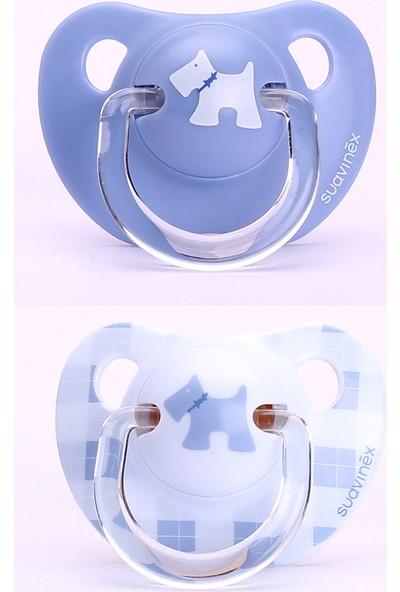 Suavinex Evolution Ortodontik Silikon Emzik Scottish ( + 6 Ay) 2'li Mavi - Beyaz Köpekli
