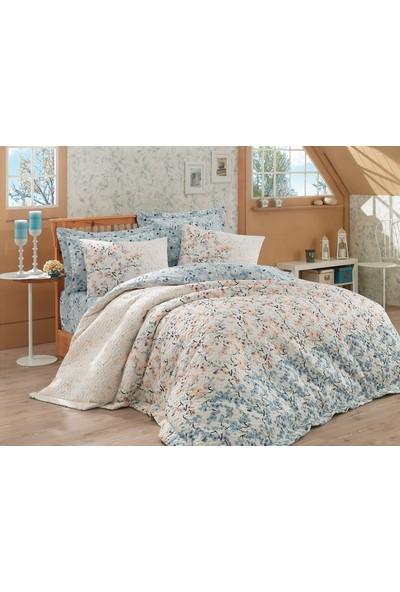 Cotton Box Royal Saten Çift Kişilik Uyku Seti Sevgi Turkuaz