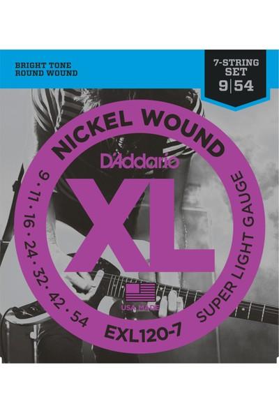 D'Addario EXL120-7 7 Telli Elektro Gitar Teli (9-54)