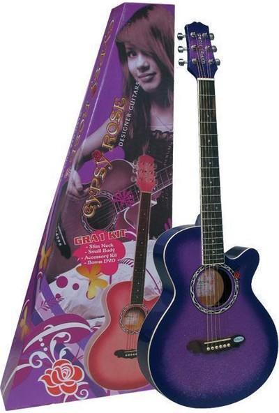 Valencia Gra1Kcpp Gypsy Rose Akustik Gitar Set-Mor-(Gıgbag Strap Stickers Dvd)