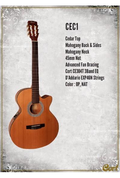 Cort Cec1 Op Elektro Klasik Gitar Open Pore Ladin Kapak