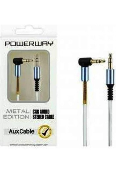 Powerway Ax02 L Tip Yaylı Aux Kablo 1 Metre