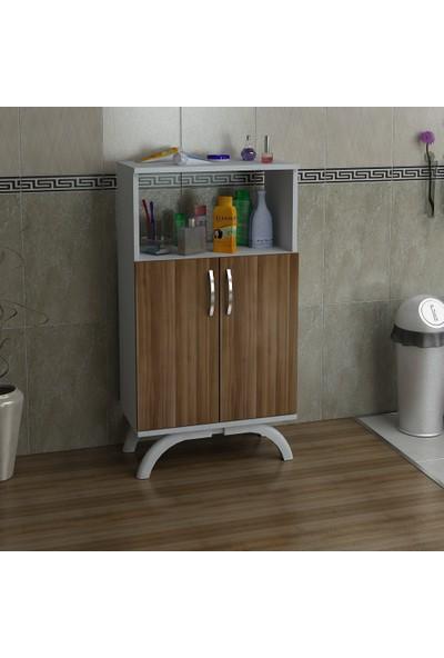 Kalender Dekor Mathilda Çok Amaçlı Banyo Dolabı (Ceviz-Beyaz)