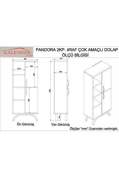 Kalender Dekor Pandora Çok Amaçlı Banyo Dolabı (Beyaz)