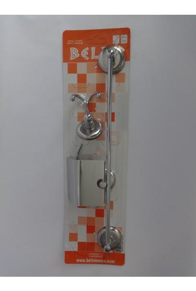 Bello 3'lü Set ( Kapalı Wc Kağıtlık + Uzun Havluluk + Çiftli Bornozluk )