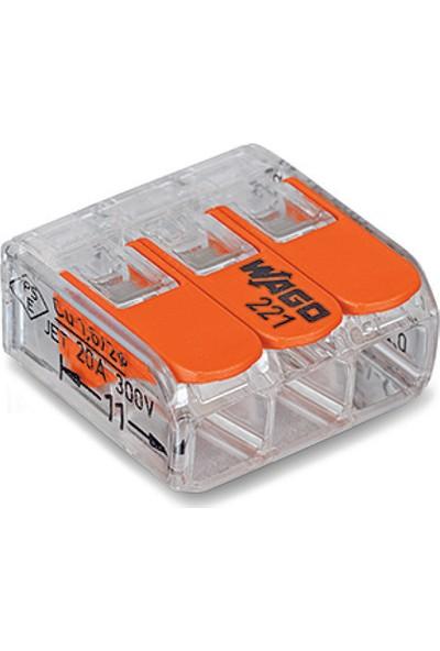 Wago 3'lü Kablo Birleştirici Buat Klemens 0,2 - 4Mm2 Kablolar İçin
