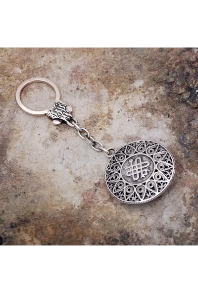 Sümer Telkari Telkari İşlemeli Gümüş Anahtarlık 50