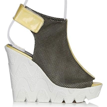 UK Polo Club P64707 Altın Kadın Topuklu Sandalet
