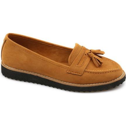 Ccway 110 Taba Süet Kadın Babet Ayakkabı