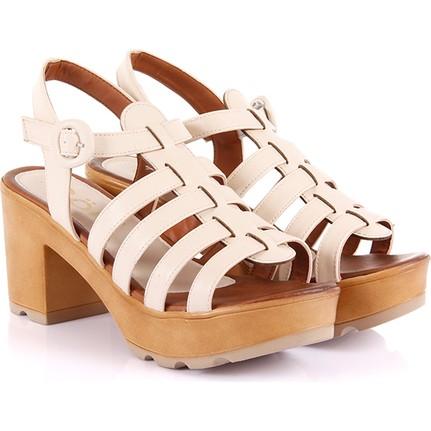 Gön 27015 Bej Kadın Sandalet