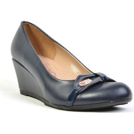 Esracan Lacivert Deri Ortopedik Dolgu Topuk Günlük Kadın Ayakkabı