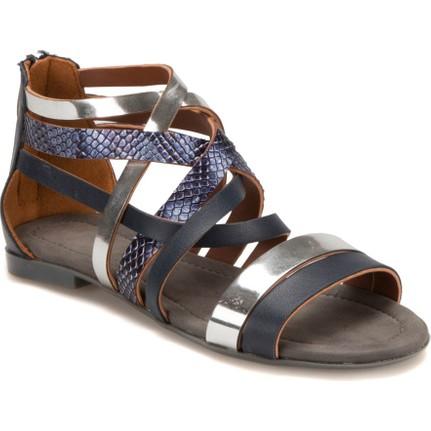 Miss F DS17052 Lacivert-Gümüş Kadın Sandalet